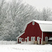A red barn in rural Wisconsin just after a snow fall
